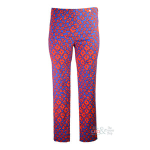 Robell Rose Royal & Orange Abstract Print Ankle Trouser | The LBD Boutique & Trouser Shop
