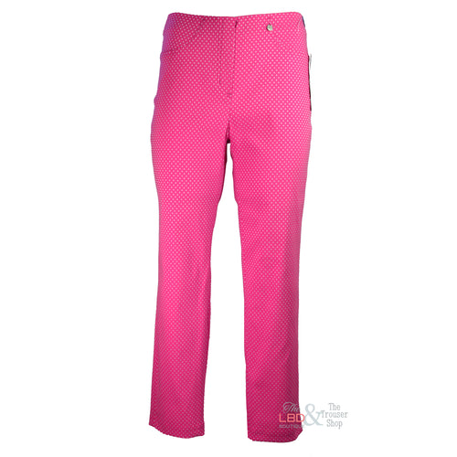 Robell Bella Pink with White Triangle Embossed Ankle Trouser | The LBD Boutique & Trouser Shop