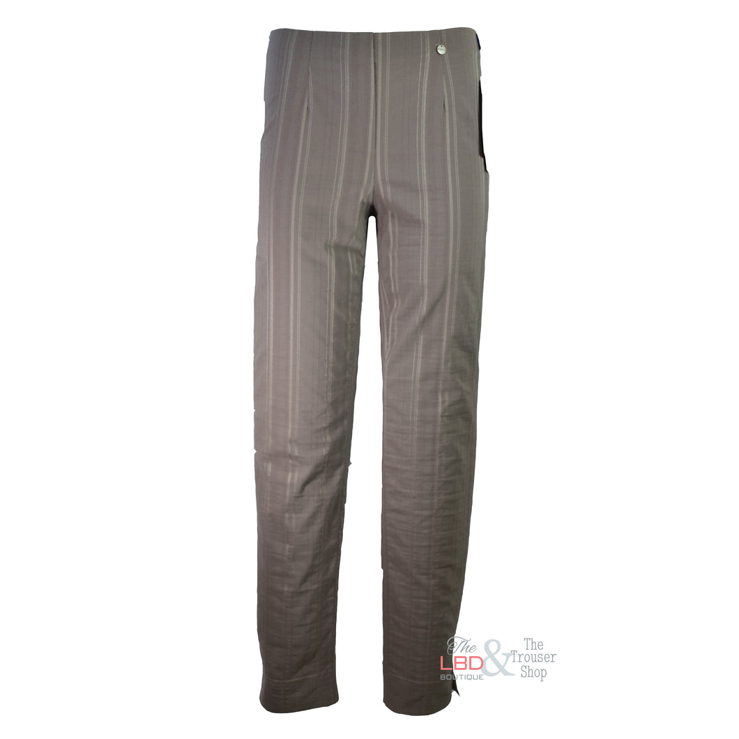 Robell Marie Seersucker Taupe F/L Trousers Size 10 Only