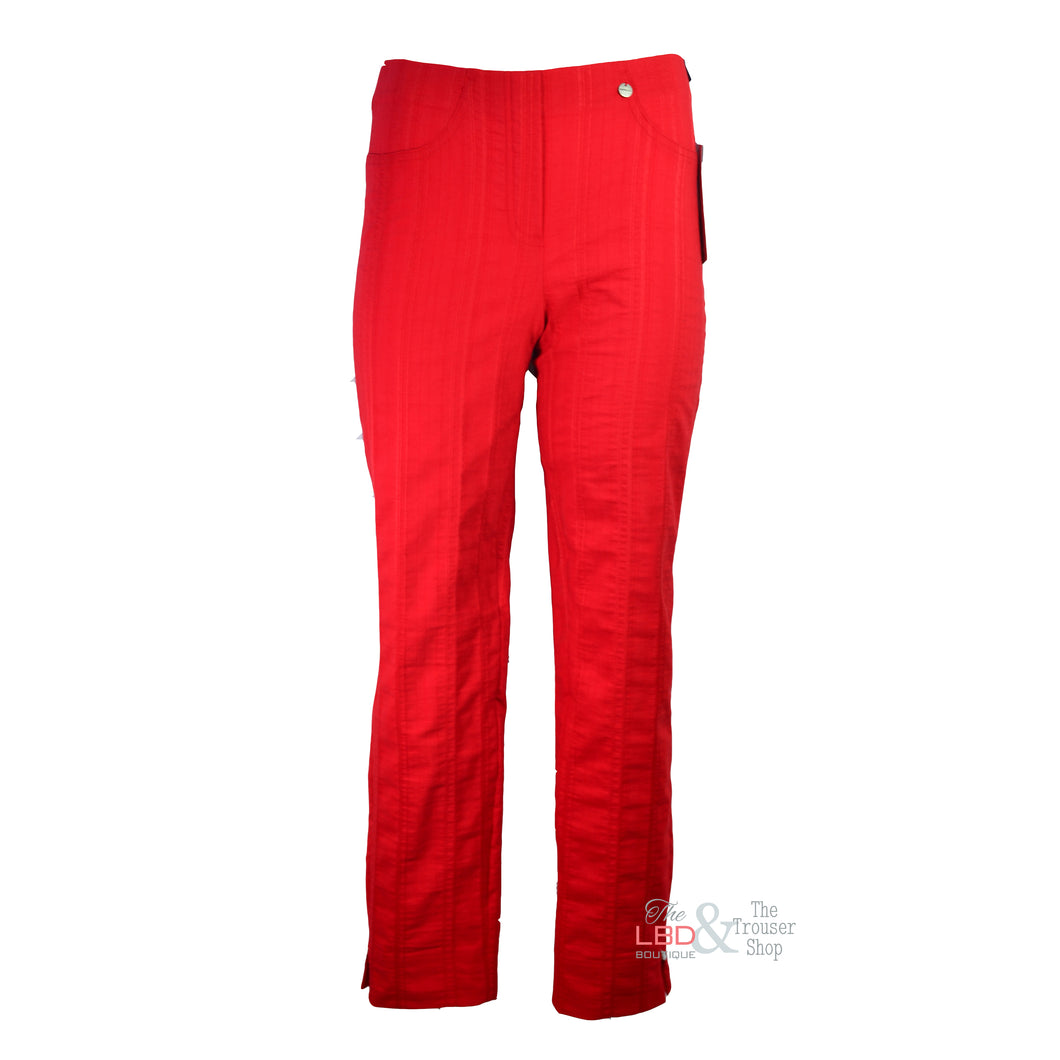 Robell Bella Red Seersucker Ankle Trouser | The LBD Boutique & Trouser Shop