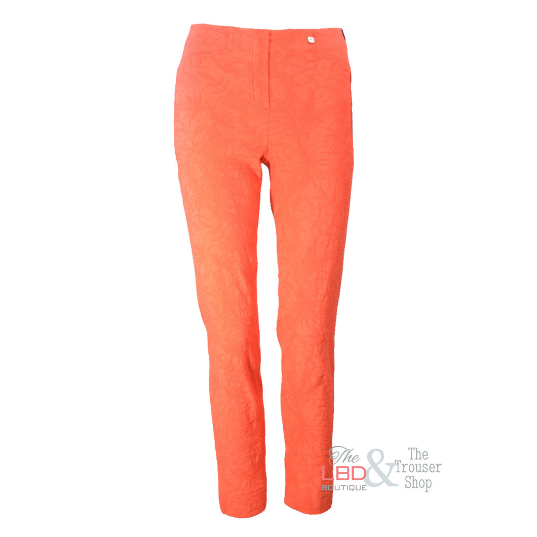 Robell Rose Orange Jacquard Ankle Trousers | The LBD Boutique & Trouser Shop