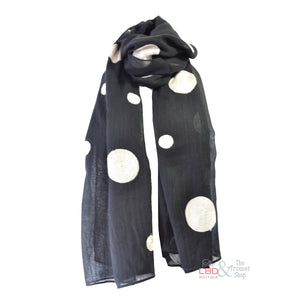 Foil Clothing Black with Cream Spotty Scarf 0028