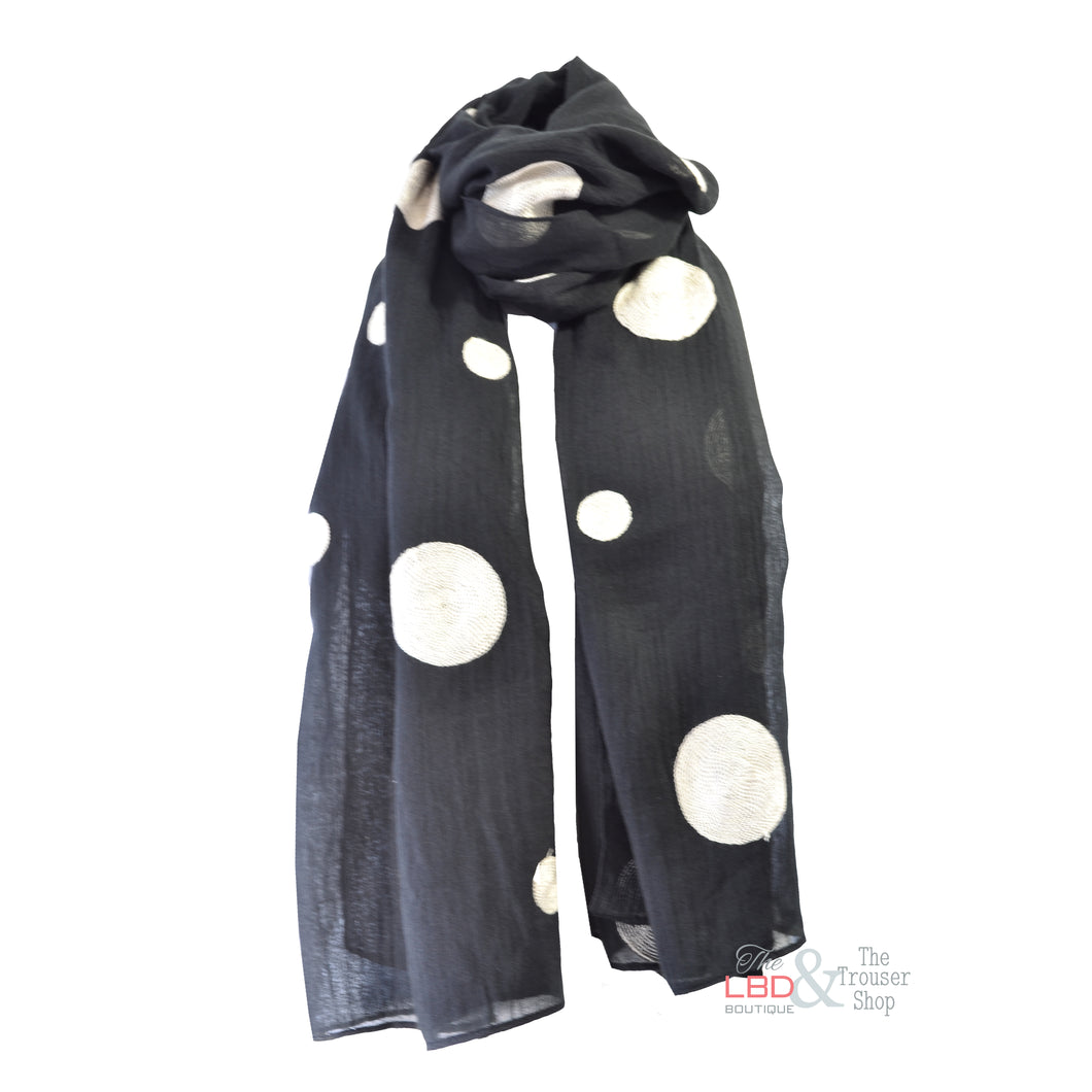Foil Clothing Black with Cream Spotty Scarf 0028 | The LBD Boutique & Trouser Shop