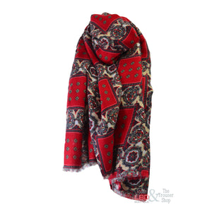 Foil Clothing Red Floral Print Scarf - 0017