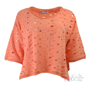 Naya Orange Holey Cotton Top | The LBD Boutique & Trouser Shop