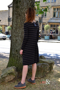 Foil Clothing Black Striped Merino Wool Dress - 4444 | The LBD Boutique & Trouser Shop