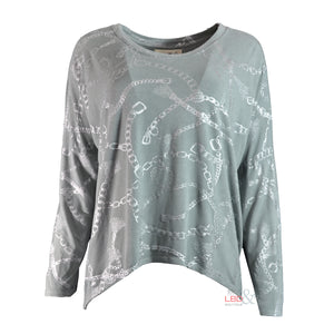 APFB Vanessa L/S Chain Print Top in Grey | The LBD Boutique & Trouser Shop