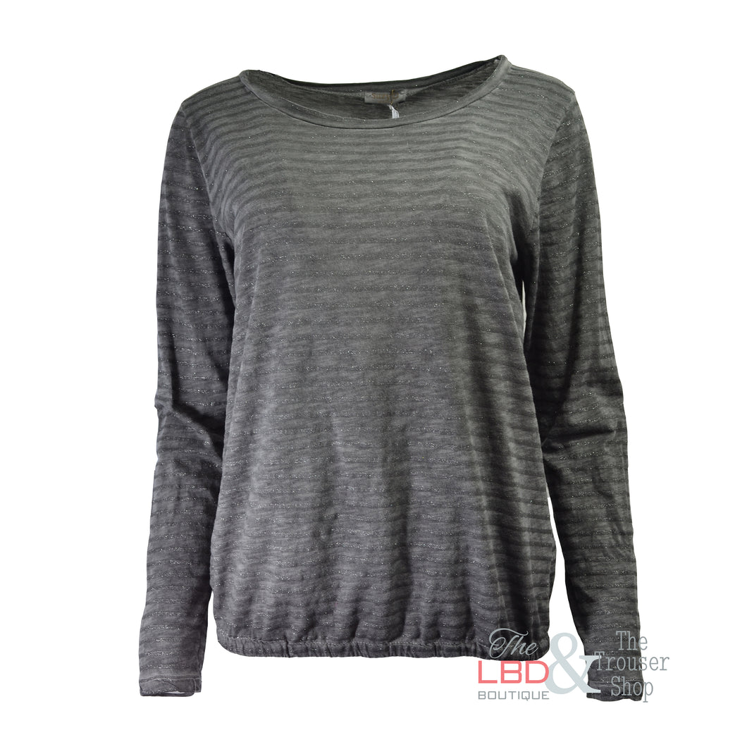 SuzyD L/S Grey Sparkly Stripe Top | The LBD Boutique & Trouser Shop