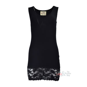 APFB Sammy Black Long Lace Vest Top | The LBD Boutique & Trouser Shop