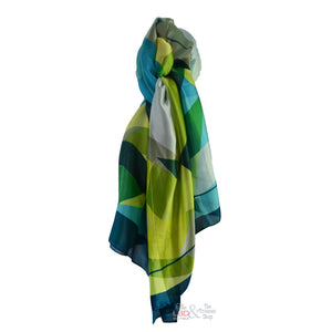 SED Green & Blue Mix Abstract Silk Scarf | The LBD Boutique & Trouser Shop