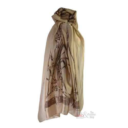 SED Beige with Taupe Equine / Stirrup Print Silk Scarf | The LBD Boutique & Trouser Shop