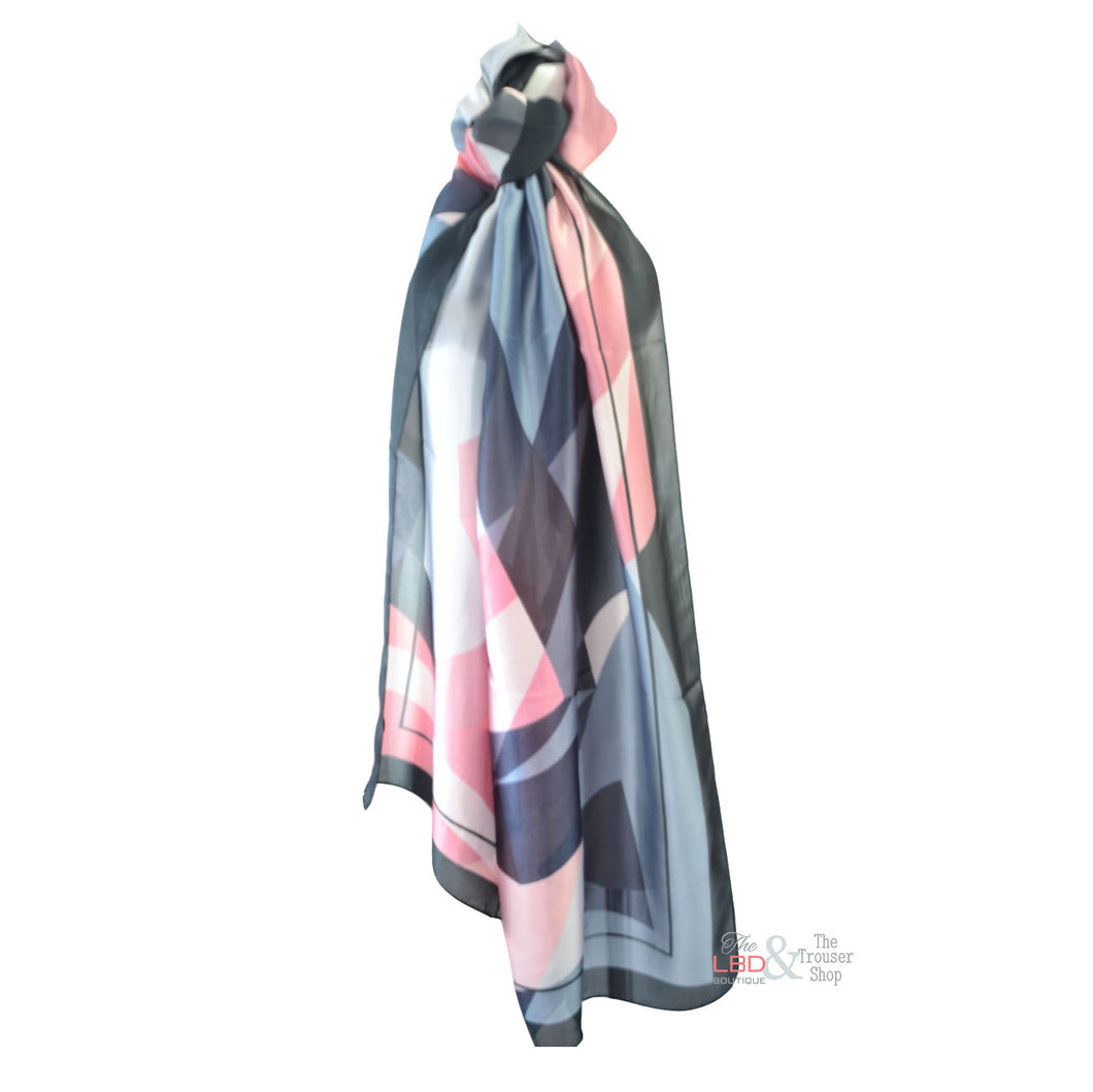SED Pink & Black Abstract Print Silk Scarf | The LBD Boutique & Trouser Shop