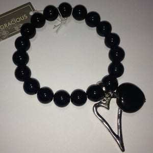 Eliza Gracious Black Bead & Heart Bracelet 214 | The LBD Boutique & Trouser Shop