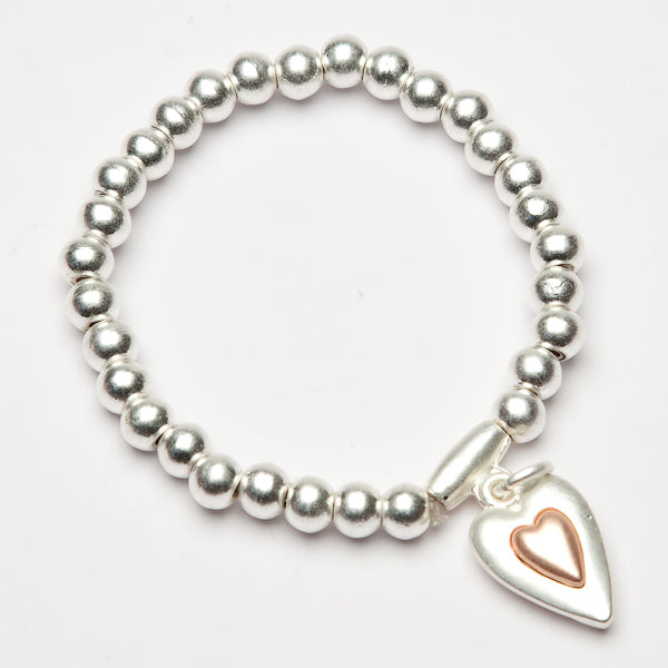 Eliza Gracious Silver + Rose Stretch Bracelet with Heart Charm 368 | The LBD Boutique & Trouser Shop