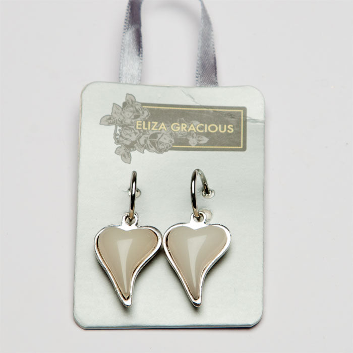 Eliza Gracious Cream Heart Ear rings 43 | The LBD Boutique & Trouser Shop