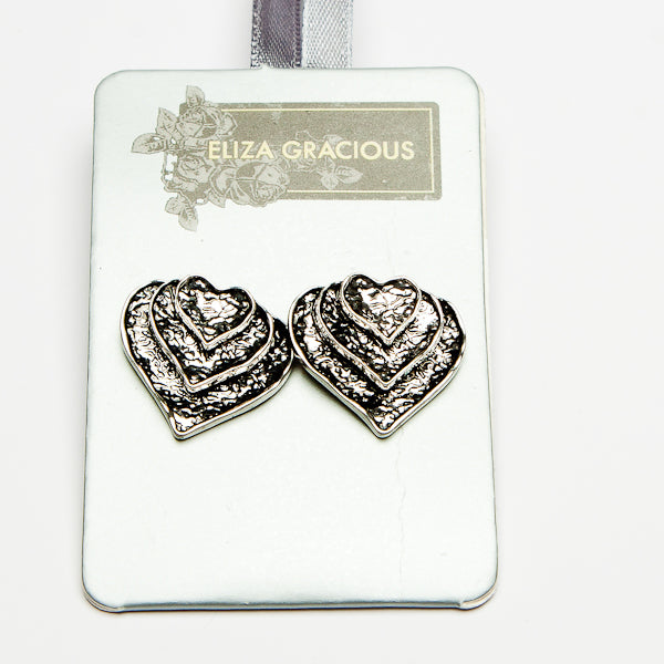 Eliza Gracious Layered Heart Studs 0057 | The LBD Boutique & Trouser Shop