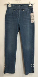 Robell Rose 09 Blue Denim Ankle Jeans with Pearl Studs | The LBD Boutique & Trouser Shop