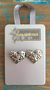 Eliza Gracious Large Silver Heart Studs 0064 | The LBD Boutique & Trouser Shop