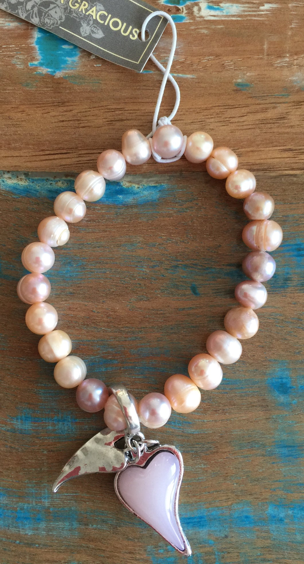 Eliza Gracious Pink Pearl with Heart Stretch Bracelet  234 | The LBD Boutique & Trouser Shop