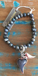 Eliza Gracious Grey Pearl and Heart Bracelet 234 | The LBD Boutique & Trouser Shop
