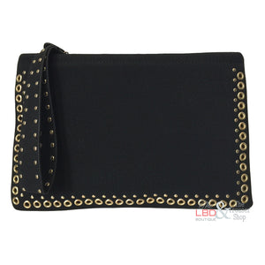 Street Level Black with Gold Stud Clutch Bag | The LBD Boutique & Trouser Shop