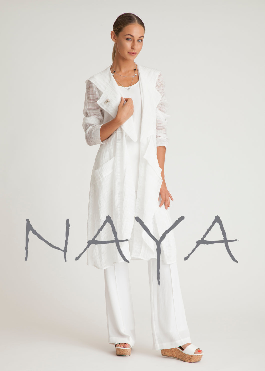 Naya Organza Summer Coat in Black or White NAS19103 | The LBD Boutique & Trouser Shop