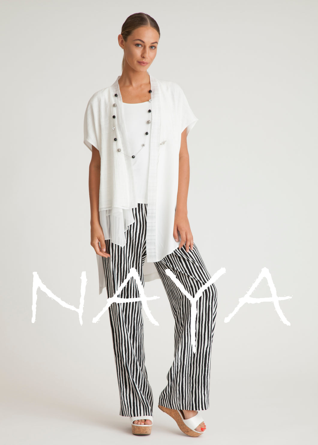 Naya Stripe Wide Leg Trousers NAS19221 | The LBD Boutique & Trouser Shop