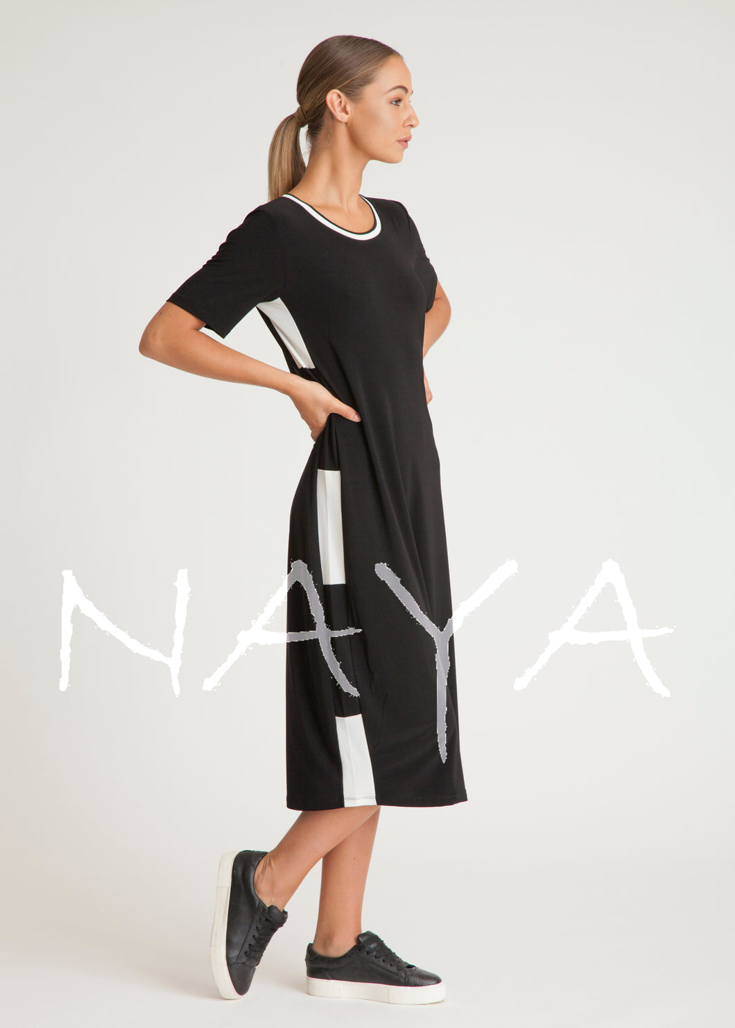 Naya Black & White Midi Jersey Dress NAS19188 | The LBD Boutique & Trouser Shop