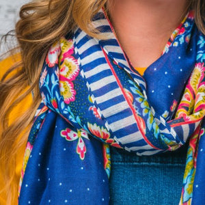 F & J Andrea Blue Mix Scarf | The LBD Boutique & Trouser Shop