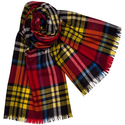 Lochcarron Brett Alford Scarf in a mix of red, yellow and blue | The LBD Boutique & Trouser Shop