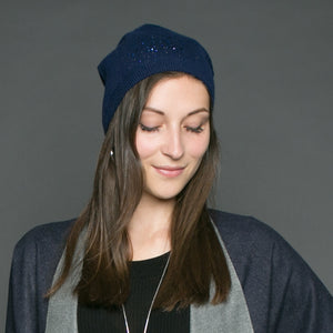 Tilley & Grace Heidi Navy Blue Cashmere Mix Beanie