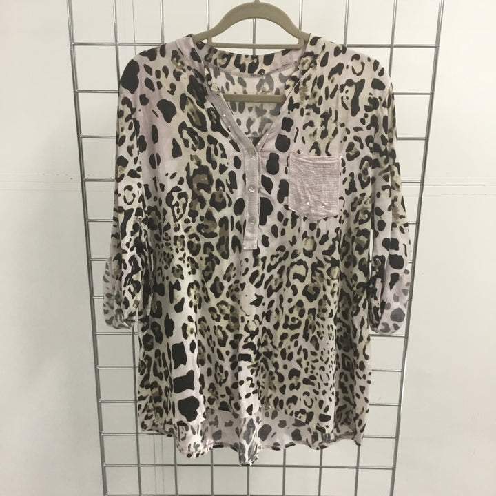 Goose Animal Print Top with Pink | The LBD Boutique & Trouser Shop
