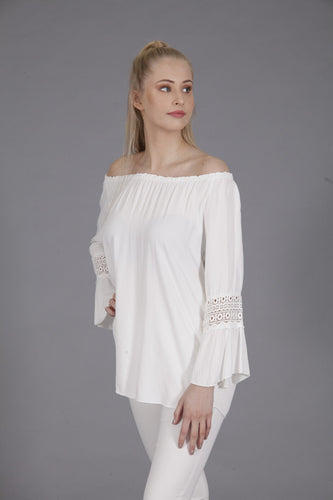 Goose Summer White Off the Shoulder Top | The LBD Boutique & Trouser Shop