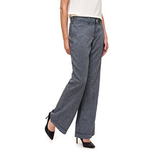 NYDJ Wide Leg Blue Linen Trousers - Size UK 8, 10 or 12 ONLY | The LBD Boutique & Trouser Shop