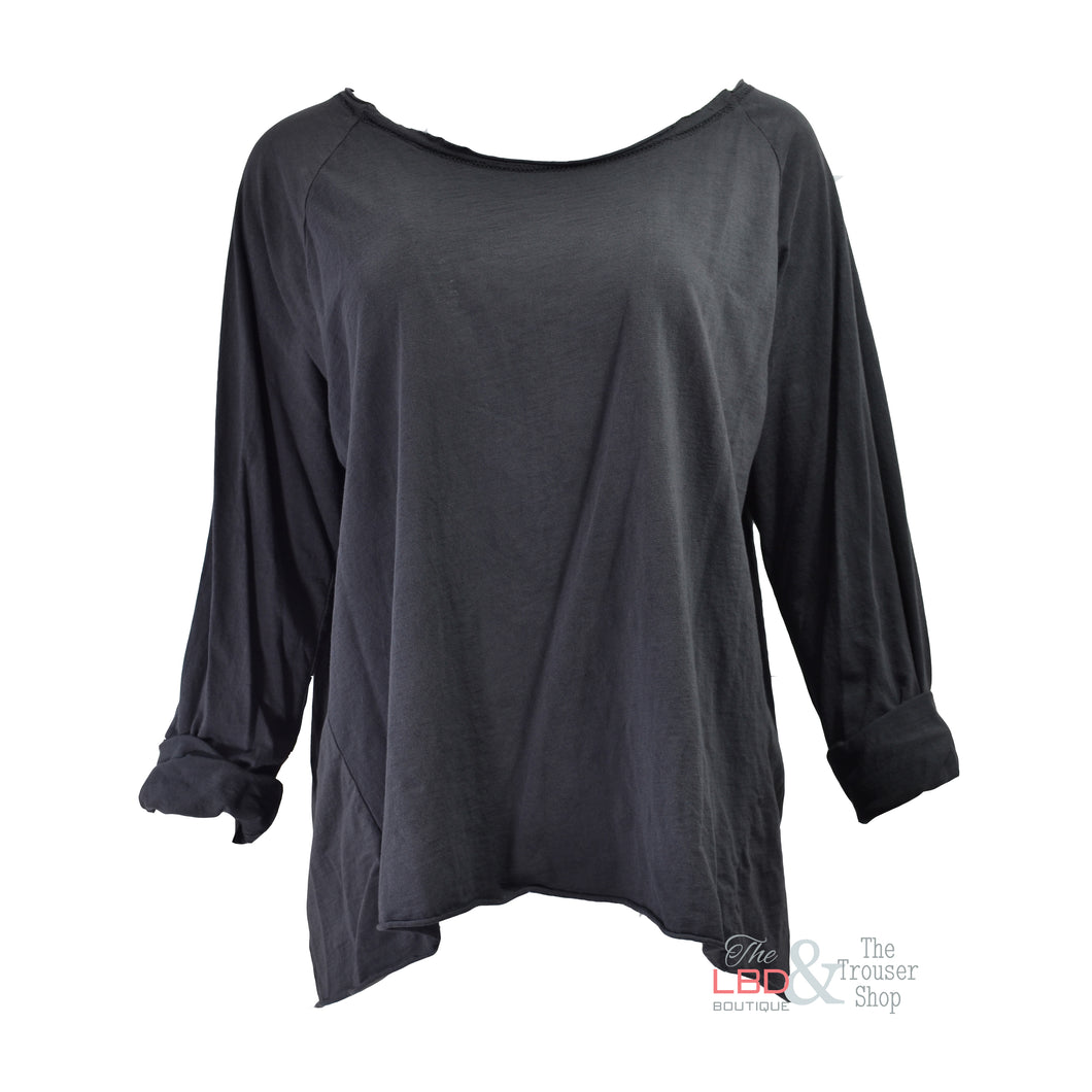 SuzyD Grey  Casual L/S Cotton Top | The LBD Boutique & Trouser Shop