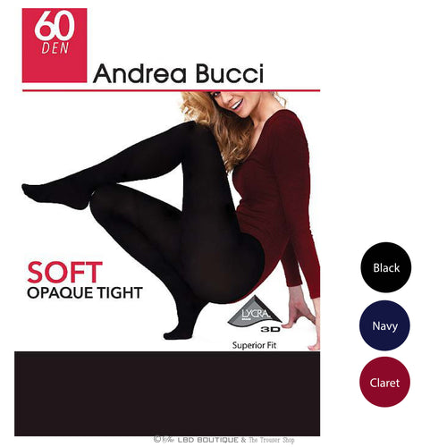 Andres Bucci 60 Denier Opaque Tights in Black, Navy or Claret | The LBD Boutique & Trouser Shop