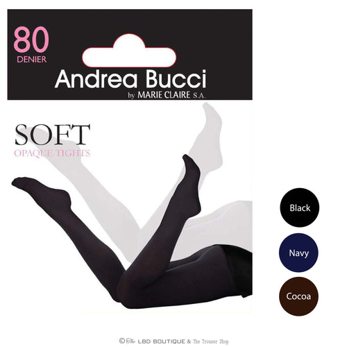 Andrea Bucci 80 Den Opaque Tights in Black, Navy or Cocoa | The LBD Boutique & Trouser Shop