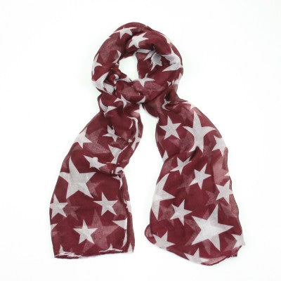 F & J Red Stars Scarf | The LBD Boutique & Trouser Shop