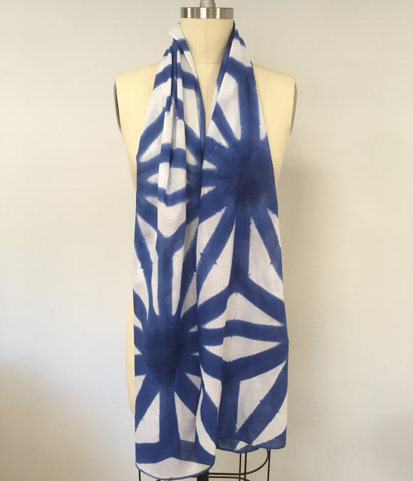 Cotton scarf Shibori