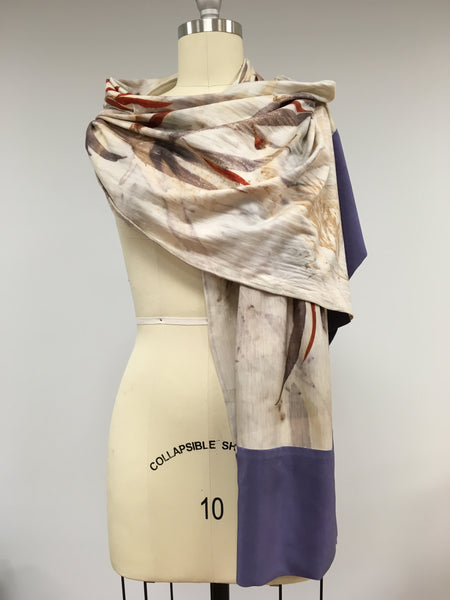 Merino jersey wool scarf with silk border