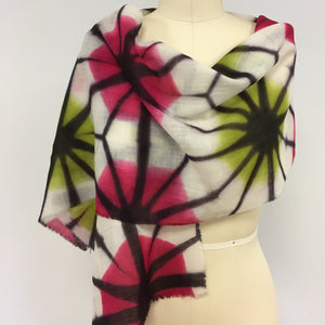 Merino wool scarf  Asanoha fold Pink and Lime
