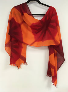 Merino wool scarf  Asanoha fold Red and Orange