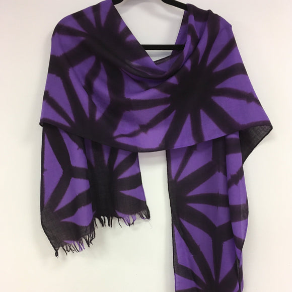 Merino wool scarf Asanoha fold Purple and Aubergine