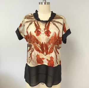 Top with silk chiffon detail