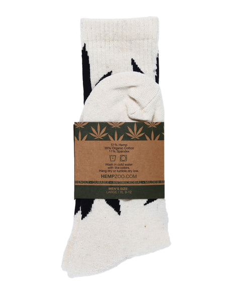 HEMP LEAF CREW SOCKS - HEMPZOO Sustainable organic hemp cannabis clothing hats accessories