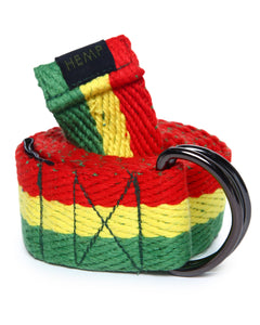 HEMP RASTA D-RING BELT - HEMPZOO Sustainable organic hemp cannabis clothing hats accessories