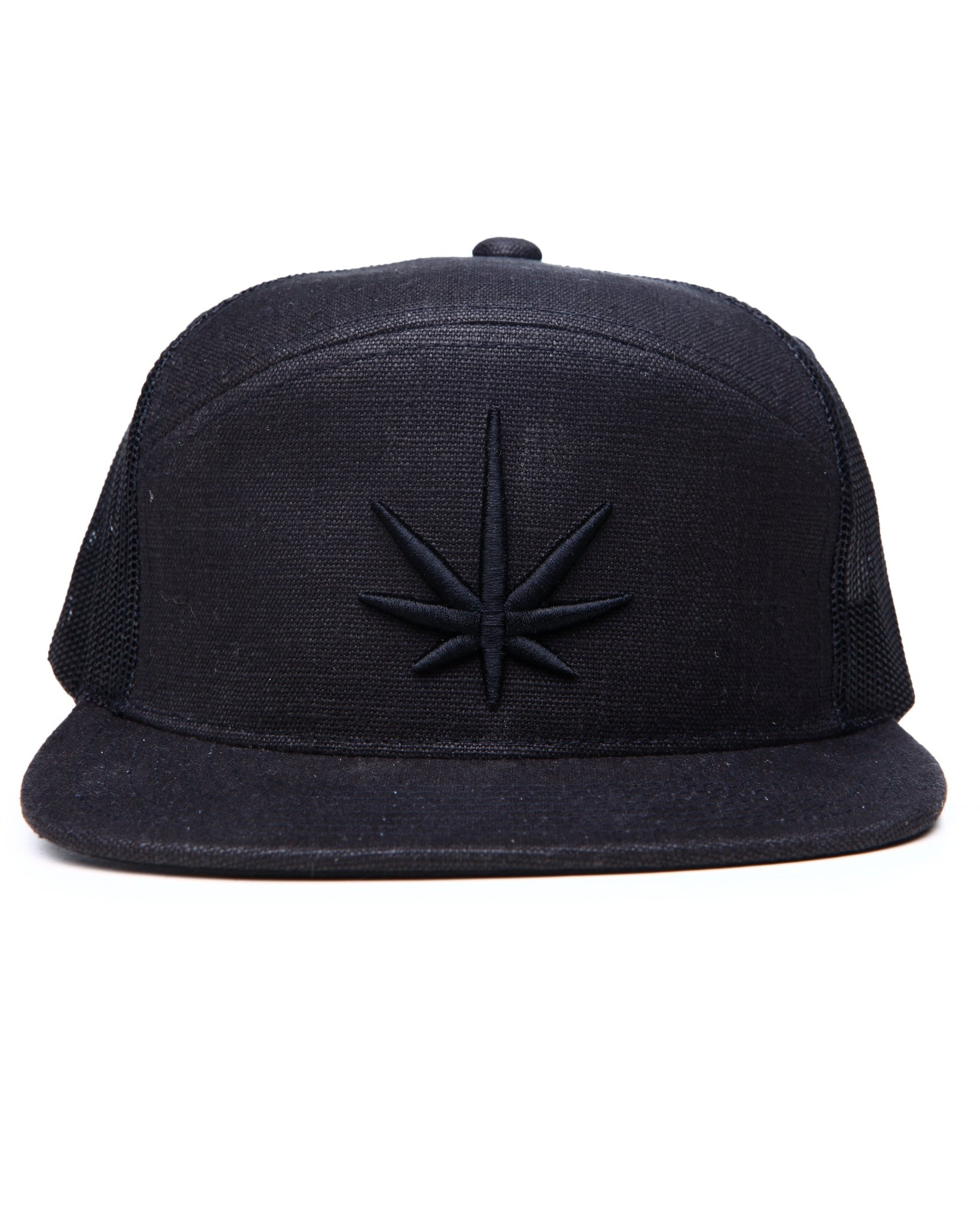 HEMPZOO BLACK LEAF ARCH TRUCKER CAP - HEMPZOO Sustainable organic hemp cannabis clothing hats accessories