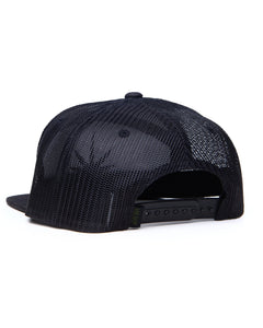 HEMPZOO BLACK LEAF ARCH TRUCKER CAP - HEMPZOO Sustainable organic hemp clothing hats accessories