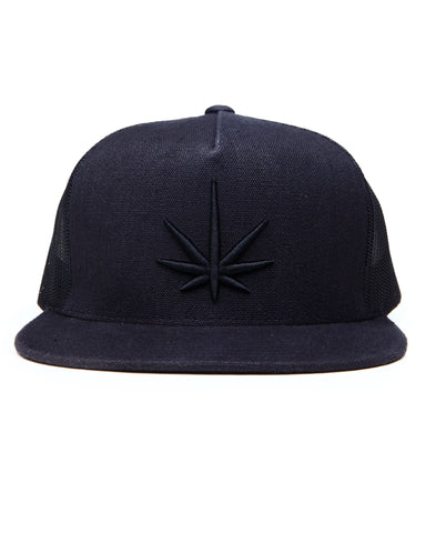 HEMPZOO BLACK LEAF TRUCKER CAP - HEMPZOO Sustainable organic hemp cannabis clothing hats accessories