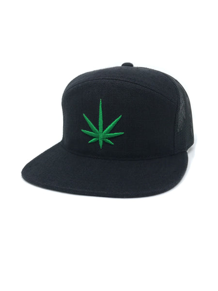 HEMPZOO GREEN LEAF ARCH TRUCKER CAP - HEMPZOO Sustainable organic hemp cannabis clothing hats accessories